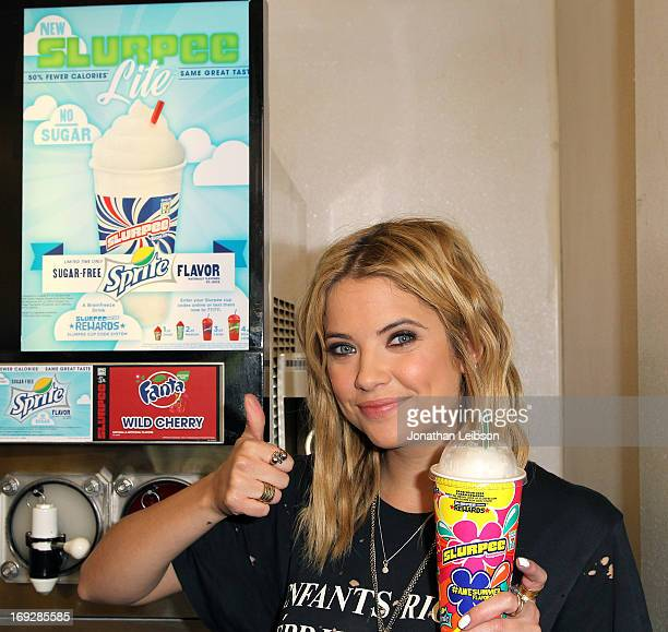 Actress Ashley Benson kicks off summer at 7Eleven with 49 cent medium Slurpee drinks all Memorial Day weekend on May 22 2013 in Los Angeles California
