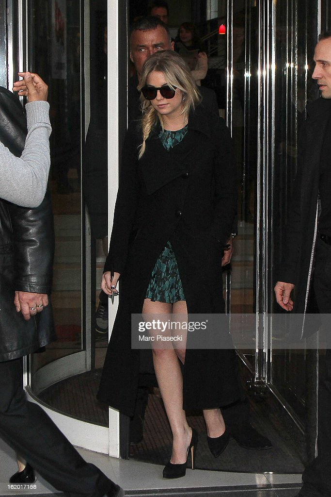 Actress Ashley Benson leaves the 'NRJ' radio station on February 18, 2013 in Paris, France.