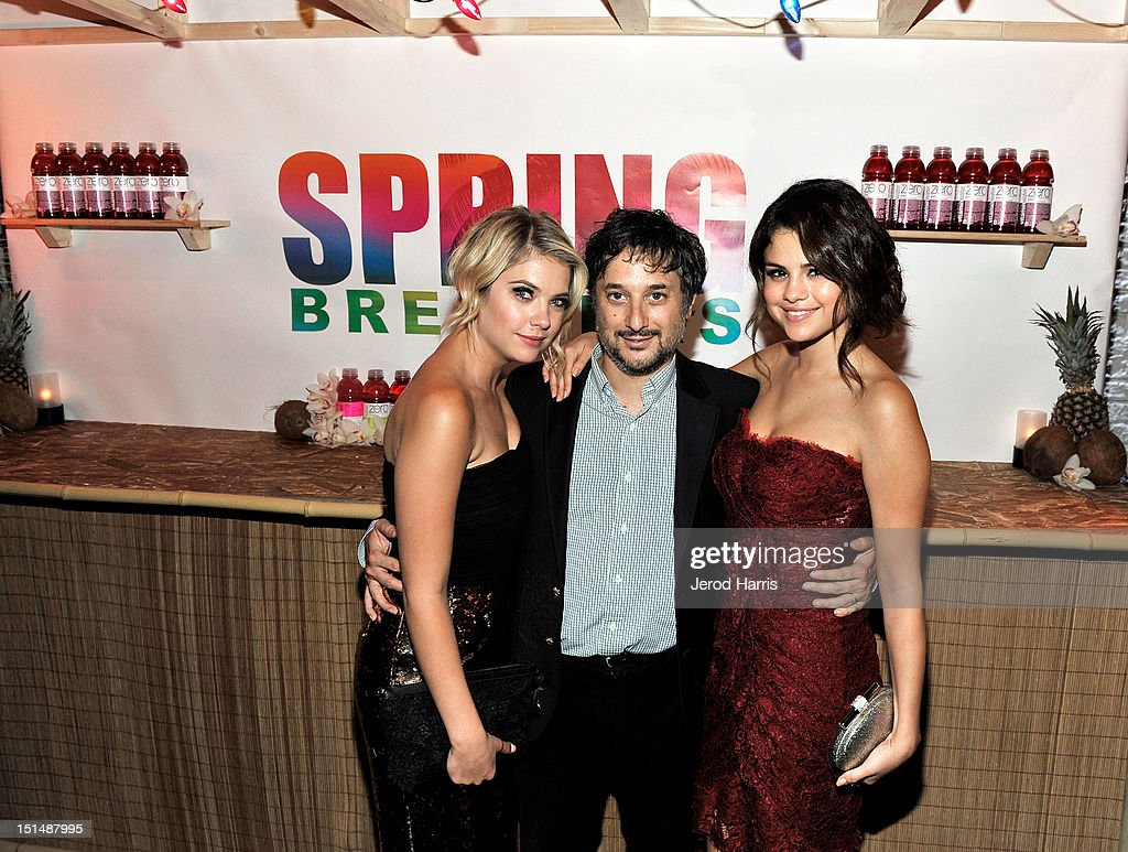 Actress Ashley Benson, Writer/Director Harmony Korine and Actress Selena Gomez attend a dinner for the cast of 'Spring Breakers' hosted by vitaminwater during the 2012 Toronto International Film Festival at Brassaii on September 7, 2012 in Toronto, Canada.