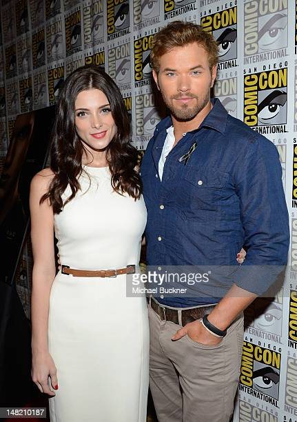 Actress Ashley Greene and actor Kellan Lutz arrive at the press conference for 'The Twilight Saga Breaking Dawn Part 2' at San Diego ComicCon 2012 at...
