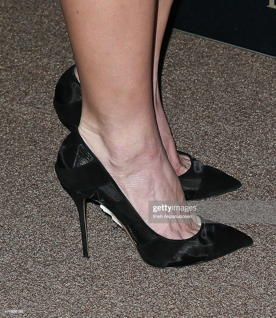 Actress Ashley Greene (shoe detail) attends the BVLGARI 'Decades of Glamour' Oscar Party at Soho House on February 25, 2014 in West Hollywood, California.