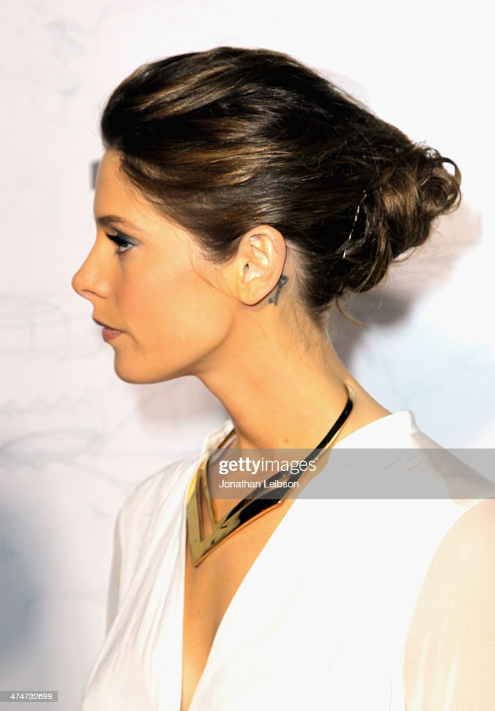 Actress Ashley Greene (fashion detail) celebrates the past, present and future of Oakley's design and technology at the brand's 'Disruptive by Design' global campaign launch event at RED Studios on February 24, 2014 in Los Angeles, California.