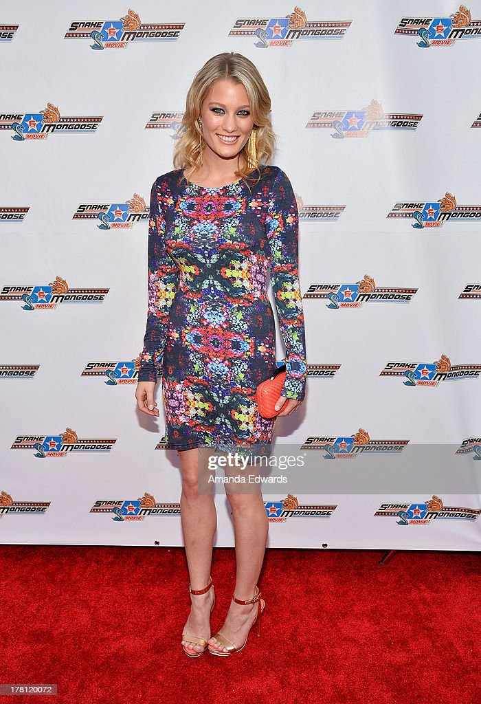 Actress <a gi-track='captionPersonalityLinkClicked' href=/galleries/search?phrase=Ashley+Hinshaw&family=editorial&specificpeople=7175518 ng-click='$event.stopPropagation()'>Ashley Hinshaw</a> arrives at the premiere of 'Snake & Mongoo$e' at the Egyptian Theatre on August 26, 2013 in Hollywood, California.