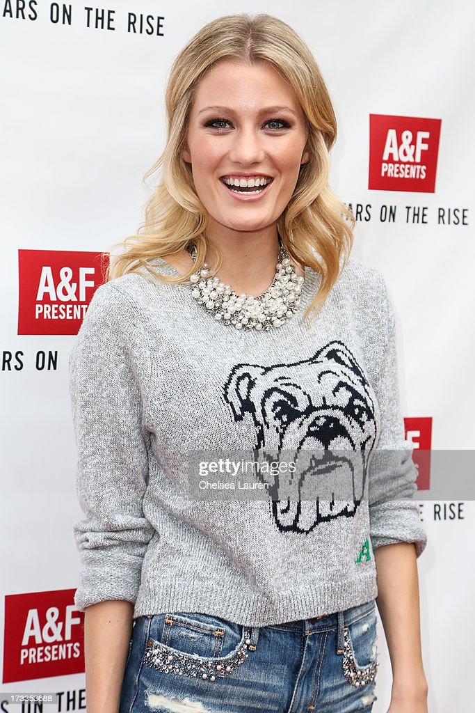 Actress <a gi-track='captionPersonalityLinkClicked' href=/galleries/search?phrase=Ashley+Hinshaw&family=editorial&specificpeople=7175518 ng-click='$event.stopPropagation()'>Ashley Hinshaw</a> attends Abercrombie & Fitch's 'Stars on the Rise' event at Abercrombie & Fitch on July 11, 2013 in Los Angeles, California.