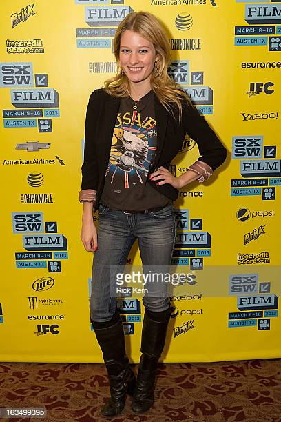 Actress Ashley Hinshaw poses in the greenroom at the screening of 'Plus One' during the 2013 SXSW Music Film Interactive Festival at Alamo Ritz on...