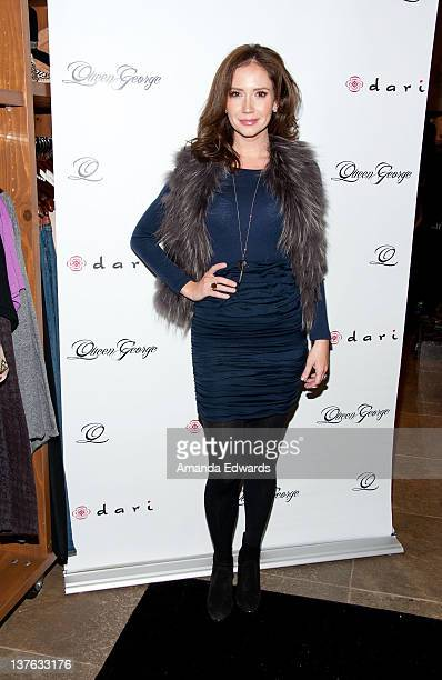 Actress Ashley Jones arrives at the launch of actress Jodi Lyn O'Keefe's new jewelry collection 'Q' at Dari Boutique on January 23 2012 in Studio...
