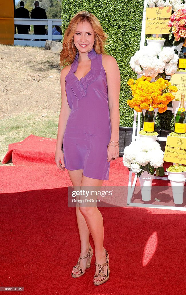 Actress Ashley Jones arrives at the Veuve Clicquot Polo Classic at Will Rogers State Historic Park on October 5, 2013 in Pacific Palisades, California.