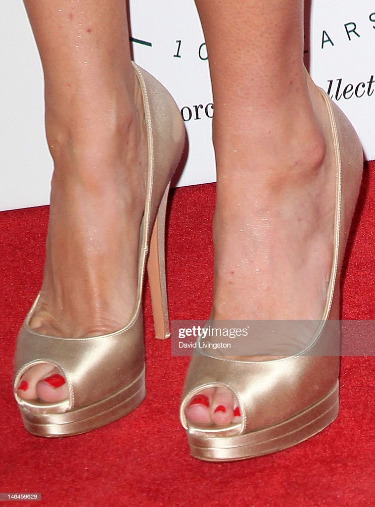 Actress Ashley Jones (shoe detail) attends an intimate cocktail celebration hosted by Brett Ratner in conjunction with the 100th anniversary celebration of The Beverly Hills Hotel at The Beverly Hills Hotel on June 16, 2012 in Beverly Hills, California.
