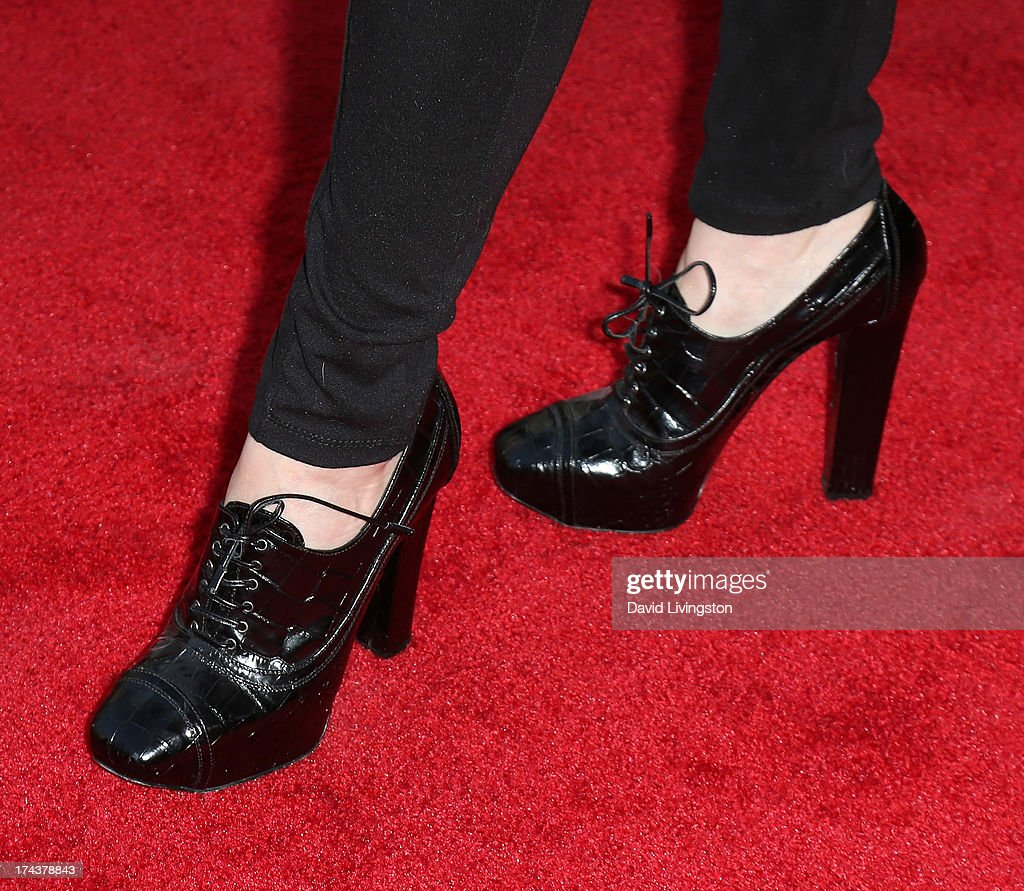 Actress Ashley Jones (shoe detail) attends the premiere of 'Blue Jasmine' hosted by the AFI & Sony Picture Classics at the AMPAS Samuel Goldwyn Theater on July 24, 2013 in Beverly Hills, California.