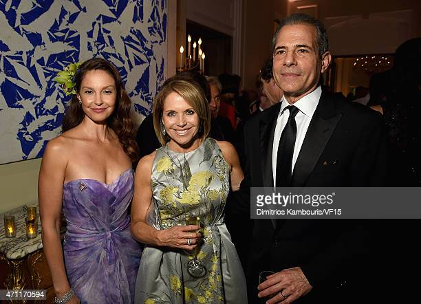Actress Ashley Judd journalist Katie Couric and Richard Stengel attend the Bloomberg Vanity Fair cocktail reception following the 2015 WHCA Dinner at...