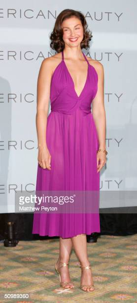 Actress Ashley Judd poses at press conference to announce her new role as the spokesperson for Estee Lauder cosmetics line 'American Beauty' at the...