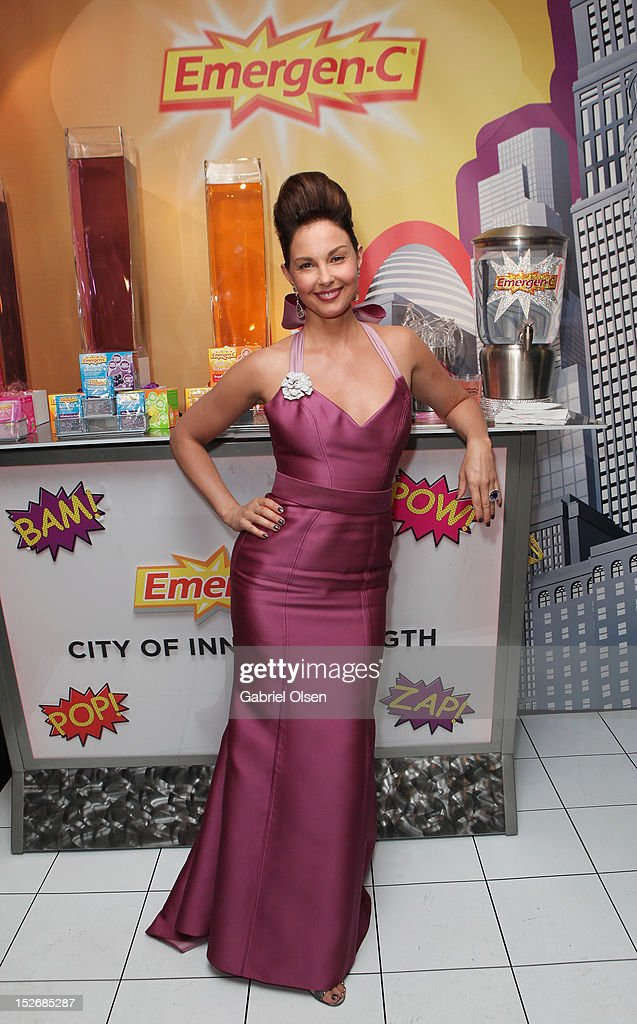 Actress Ashley Judd poses with Emergen-C in the Presenters Gift Lounge Backstage in celebration of the 64th Primetime Emmy Awards produced by On 3 Productions at Nokia Theatre L.A. Live on September 23, 2012 in Los Angeles, California.