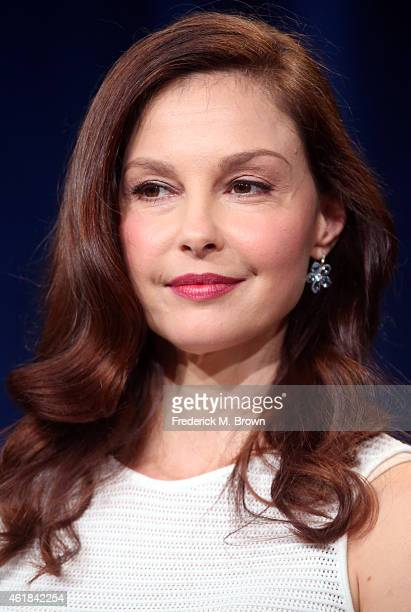 "Actress Ashley Judd speaks onstage during the 'INDEPENDENT LENS ""A Path Appears""' panel discussion at the PBS Network portion of the Television..."