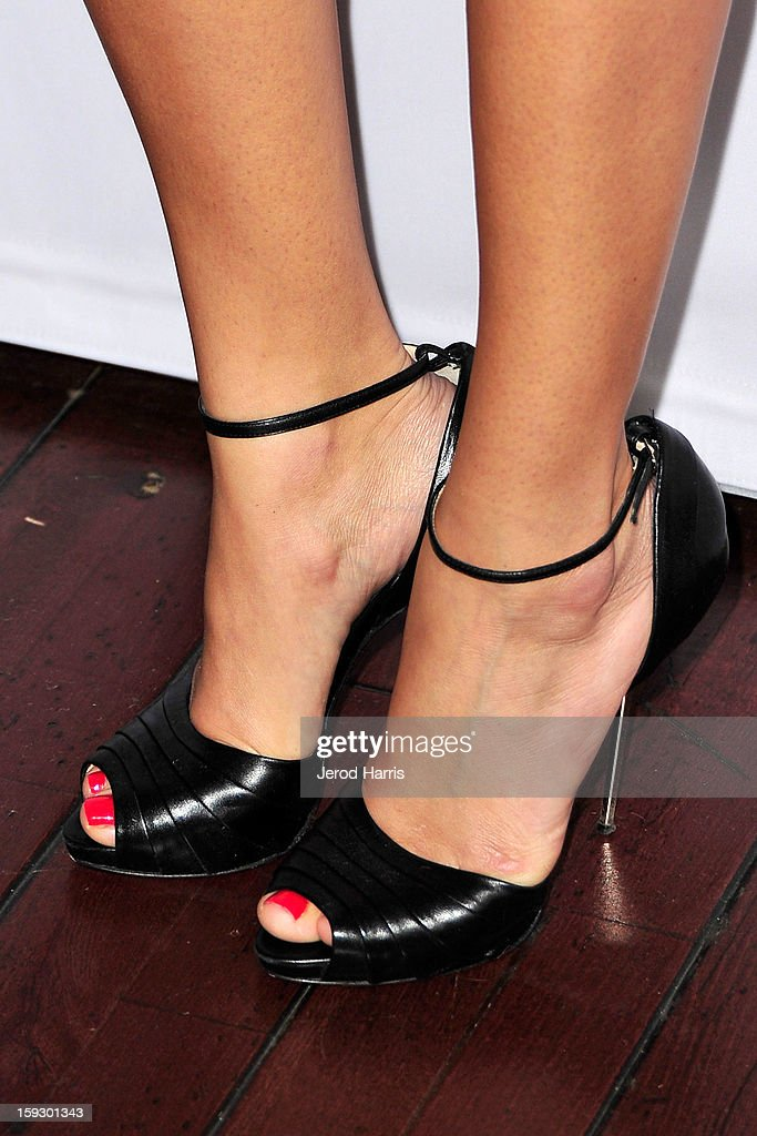Actress <a gi-track='captionPersonalityLinkClicked' href=/galleries/search?phrase=Ashley+Madekwe&family=editorial&specificpeople=5526423 ng-click='$event.stopPropagation()'>Ashley Madekwe</a> (shoe detail) arrives at Disney ABC Television's red carpet gala at the Langham Huntington Hotel and Spa on January 10, 2013 in Pasadena, California.