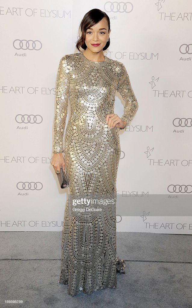 Actress Ashley Madekwe arrives at The Art of Elysium's Heaven Gala at 2nd Street Tunnel on January 12, 2013 in Los Angeles, California.