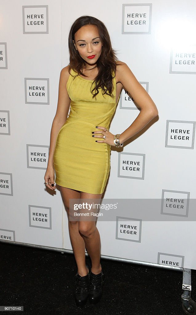Actress Ashley Madekwe attends Herve Leger By Max Azria Spring 2010 during Mercedes-Benz Fashion Week at Bryant Park on September 13, 2009 in New York City.