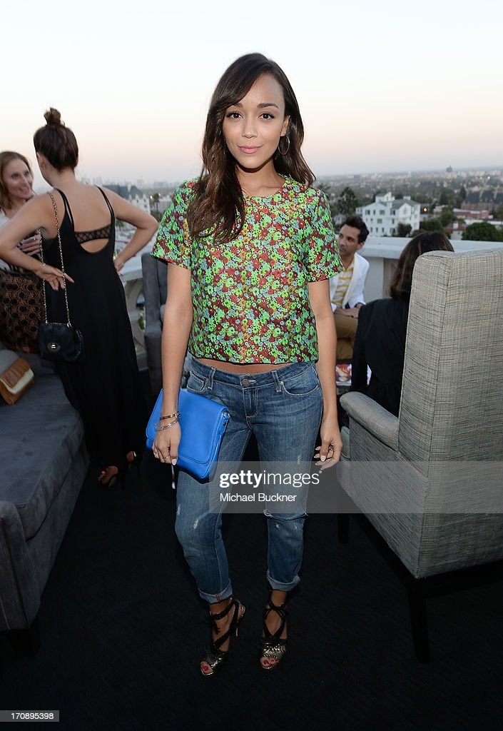 Actress Ashley Madekwe attends Mary-Kate Olsen, Ashley Olsen, and InStyle Editor Ariel Foxman celebrate the launch of the Elizabeth and James Fall 2013 Handbag Collection at a cocktail party held at Chateau Marmont in West Hollywood on June 19, 2013.