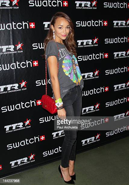Actress Ashley Madekwe attends the TTR World Snowboard Tour and Swatch Art Rules Competition winning design unveiling at Royal T on May 11 2012 in...
