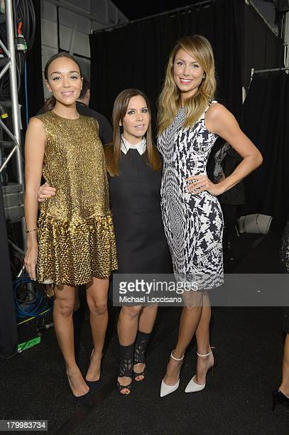 Actress Ashley Madekwe designer Monique Lhuillier and Stacy Keibler backstage at the Monique Lhuillier fashion show during MercedesBenz Fashion Week...