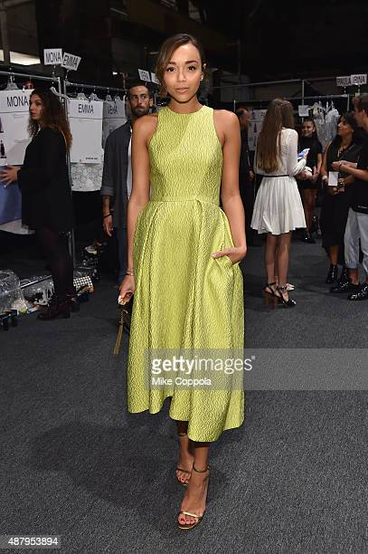 Actress Ashley Madekwe poses backstage at Monique Lhuillier Spring 2016 during New York Fashion Week The Shows at The Arc Skylight at Moynihan...