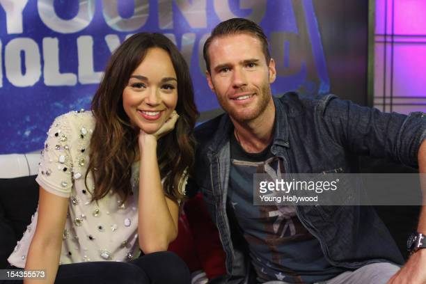 Actress Ashley Madekwe visits with host Oliver Trevena at the Young Hollywood Studio on October 18 2012 in Los Angeles California