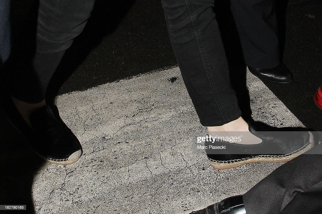 Actress <a gi-track='captionPersonalityLinkClicked' href=/galleries/search?phrase=Ashley+Olsen&family=editorial&specificpeople=156429 ng-click='$event.stopPropagation()'>Ashley Olsen</a> (shoe detail) is sighted at Aeroport Roissy - Charles de Gaulle on February 27, 2013 in Paris, France.
