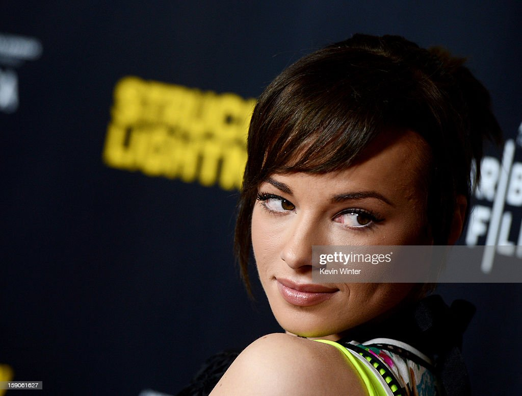 Actress Ashley Rickards arrives at a screening of Tribeca Film's 'Struck By Lightning' at the Chinese Cinema 6 Theaters on January 6, 2013 in Los Angeles, California.