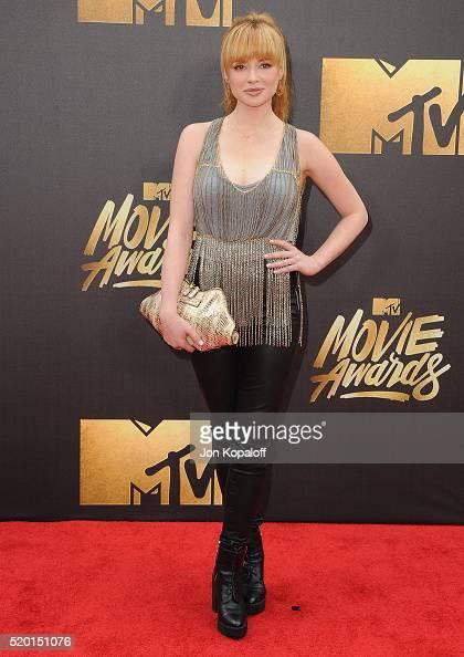 Actress Ashley Rickards arrives at the 2016 MTV Movie Awards at Warner Bros Studios on April 9 2016 in Burbank California
