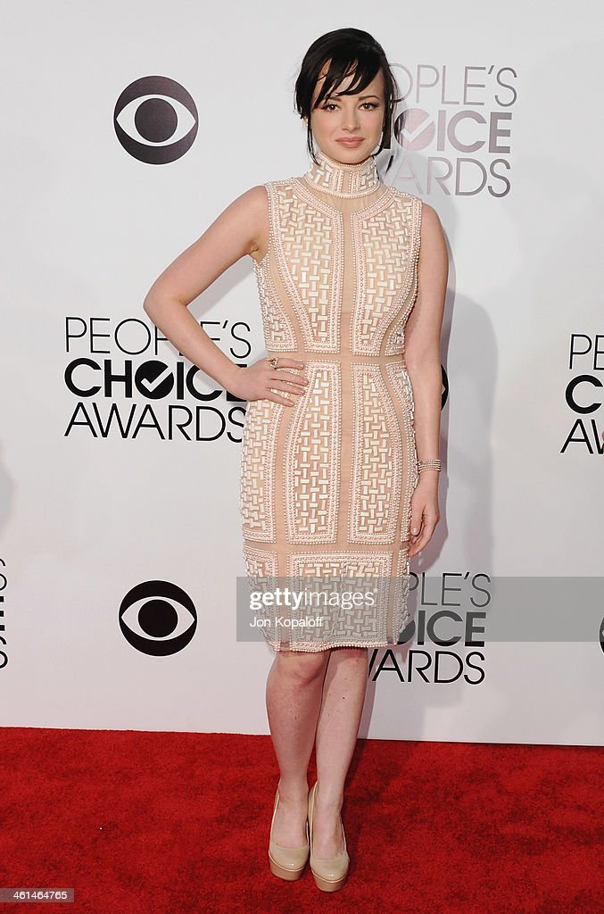 Actress Ashley Rickards arrives at The 40th Annual People's Choice Awards at Nokia Theatre LA Live on January 8 2014 in Los Angeles California