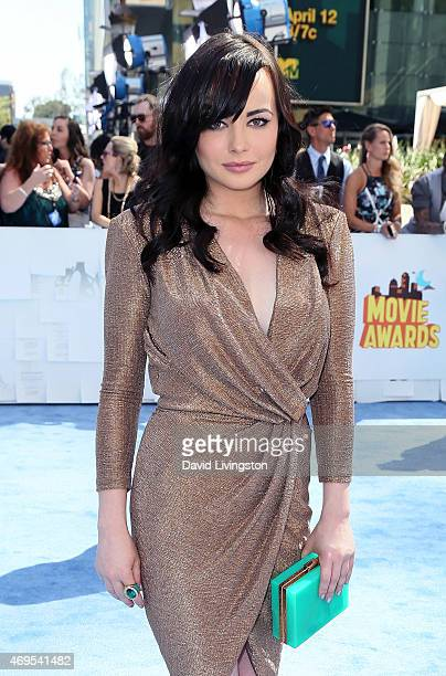 Actress Ashley Rickards attends the 2015 MTV Movie Awards at the Nokia Theatre LA Live on April 12 2015 in Los Angeles California