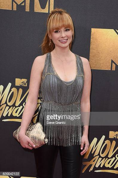 Actress Ashley Rickards attends the 2016 MTV Movie Awards at Warner Bros Studios on April 9 2016 in Burbank California MTV Movie Awards airs April 10...