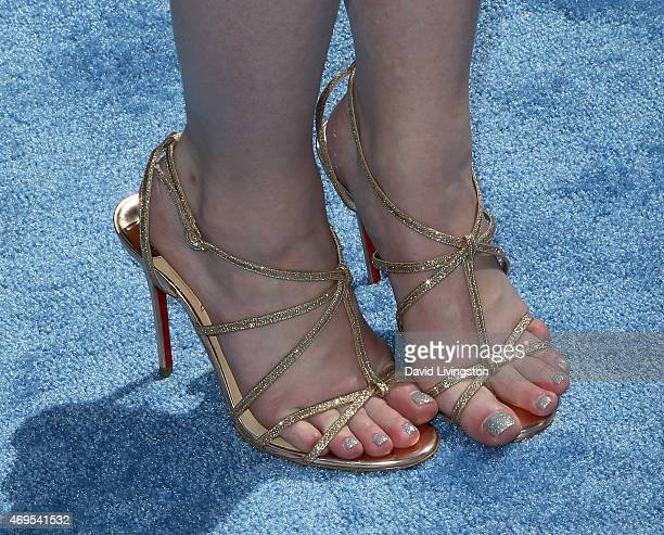 Actress Ashley Rickards shoe detail attends the 2015 MTV Movie Awards at the Nokia Theatre LA Live on April 12 2015 in Los Angeles California