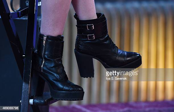 Actress Ashley Rickards shoe detail attends the AOL BUILD Speaker Series to discuss her new book 'A Guide To Really Getting It Together' at AOL...