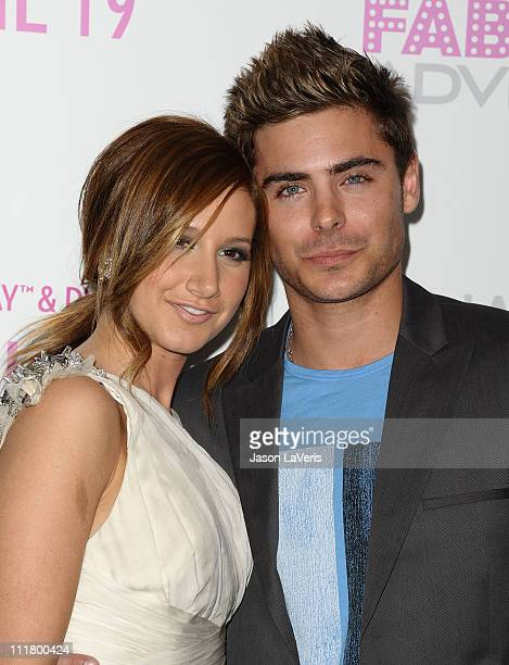 Actress Ashley Tisdale and actor Zac Efron attend the release of 'Sharpay's Fabulous Adventure' at Soho House on April 6 2011 in West Hollywood...