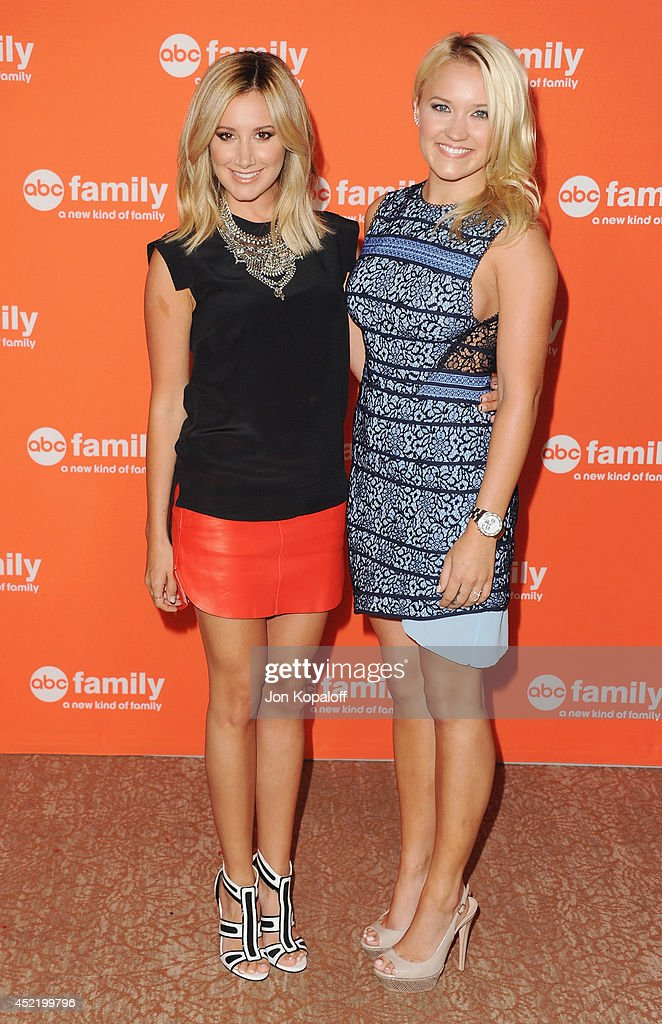 Actress Ashley Tisdale and actress Emily Osment arrive the Disney|ABC Television Group 2014 Television Critics Association Summer Press Tour at The Beverly Hilton Hotel on July 15, 2014 in Beverly Hills, California.