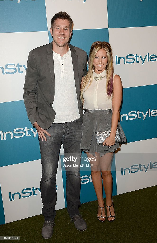 Actress <a gi-track='captionPersonalityLinkClicked' href=/galleries/search?phrase=Ashley+Tisdale&family=editorial&specificpeople=213972 ng-click='$event.stopPropagation()'>Ashley Tisdale</a> and her boyfriend <a gi-track='captionPersonalityLinkClicked' href=/galleries/search?phrase=Scott+Speer&family=editorial&specificpeople=637128 ng-click='$event.stopPropagation()'>Scott Speer</a> attend the 11th annual InStyle summer soiree held at The London Hotel on August 8, 2012 in West Hollywood, California.