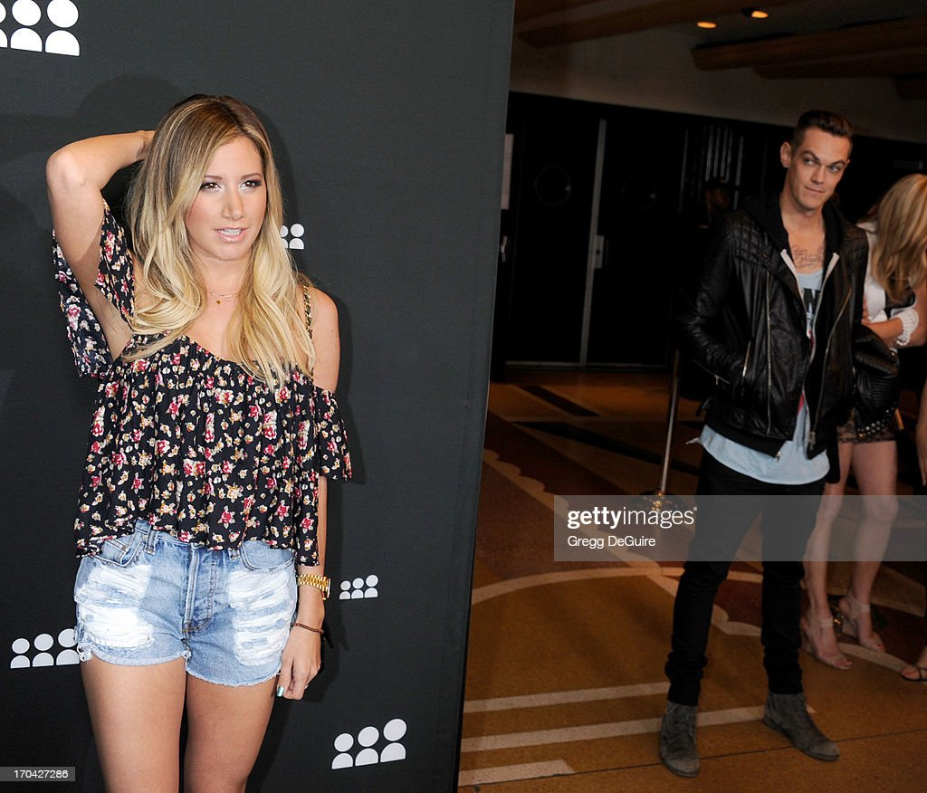 Actress <a gi-track='captionPersonalityLinkClicked' href=/galleries/search?phrase=Ashley+Tisdale&family=editorial&specificpeople=213972 ng-click='$event.stopPropagation()'>Ashley Tisdale</a> and musician Christopher French arrive at the Myspace event at El Rey Theatre on June 12, 2013 in Los Angeles, California.