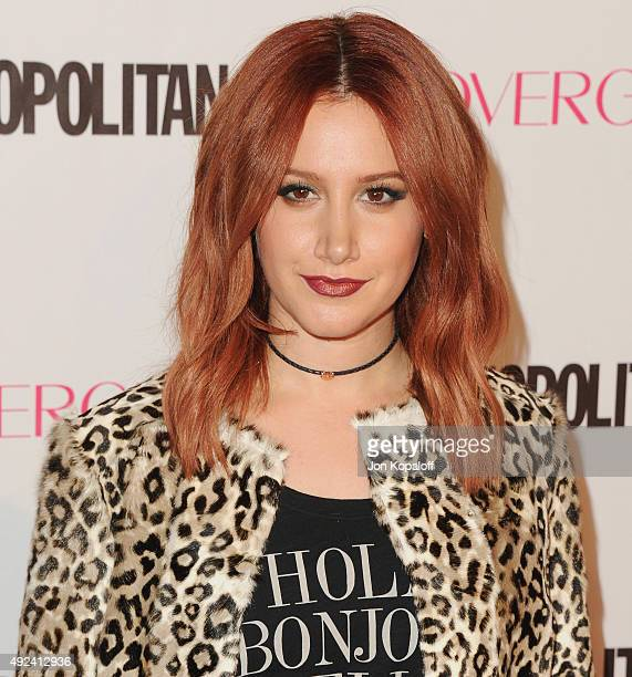 Actress Ashley Tisdale arrives at Cosmopolitan Magazine's 50th Birthday Celebration at Ysabel on October 12 2015 in West Hollywood California