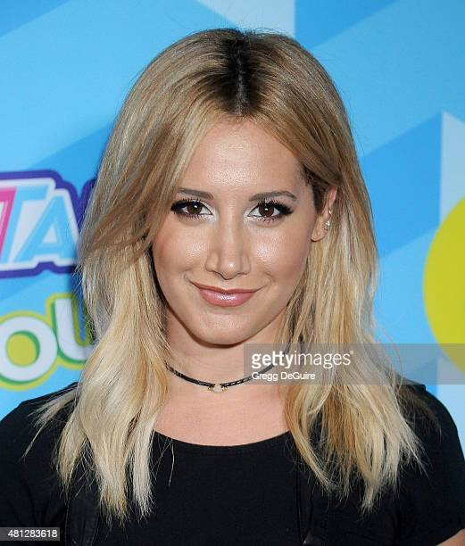 Actress Ashley Tisdale arrives at Just Jared's Summer Bash Pool Party 2015 on July 18 2015 in Los Angeles California