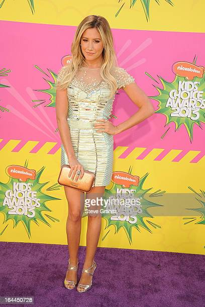 Actress Ashley Tisdale arrives at Nickelodeon's 26th Annual Kids' Choice Awards at USC Galen Center on March 23 2013 in Los Angeles California