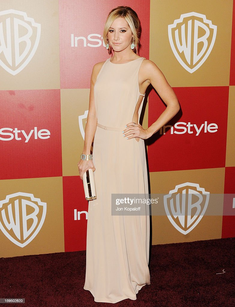 Actress Ashley Tisdale arrives at the InStyle And Warner Bros. Golden Globe Party at The Beverly Hilton Hotel on January 13, 2013 in Beverly Hills, California.