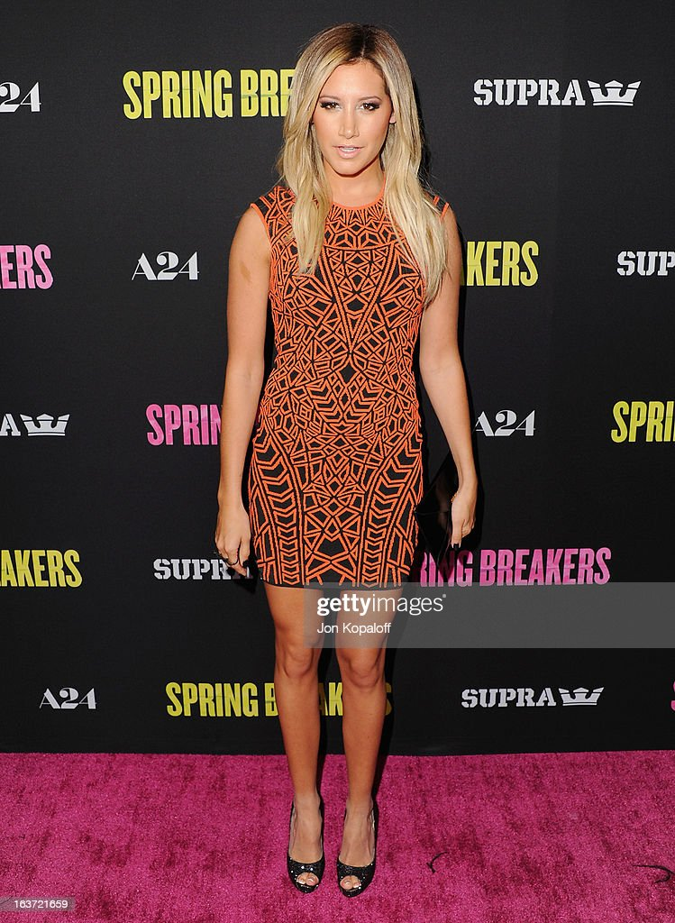 Actress <a gi-track='captionPersonalityLinkClicked' href=/galleries/search?phrase=Ashley+Tisdale&family=editorial&specificpeople=213972 ng-click='$event.stopPropagation()'>Ashley Tisdale</a> arrives at the Los Angeles Premiere 'Spring Breakers' at ArcLight Hollywood on March 14, 2013 in Hollywood, California.