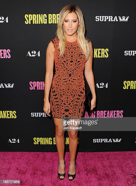 Actress Ashley Tisdale arrives at the Los Angeles Premiere 'Spring Breakers' at ArcLight Hollywood on March 14 2013 in Hollywood California