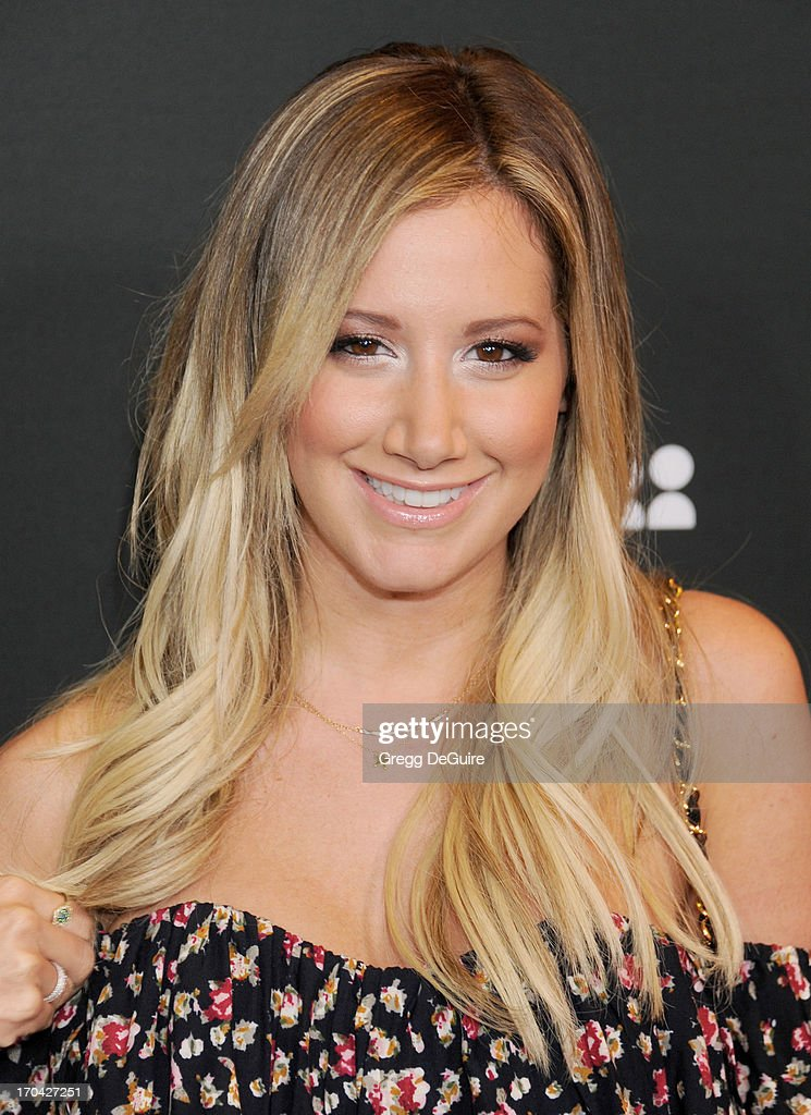 Actress <a gi-track='captionPersonalityLinkClicked' href=/galleries/search?phrase=Ashley+Tisdale&family=editorial&specificpeople=213972 ng-click='$event.stopPropagation()'>Ashley Tisdale</a> arrives at the Myspace event at El Rey Theatre on June 12, 2013 in Los Angeles, California.
