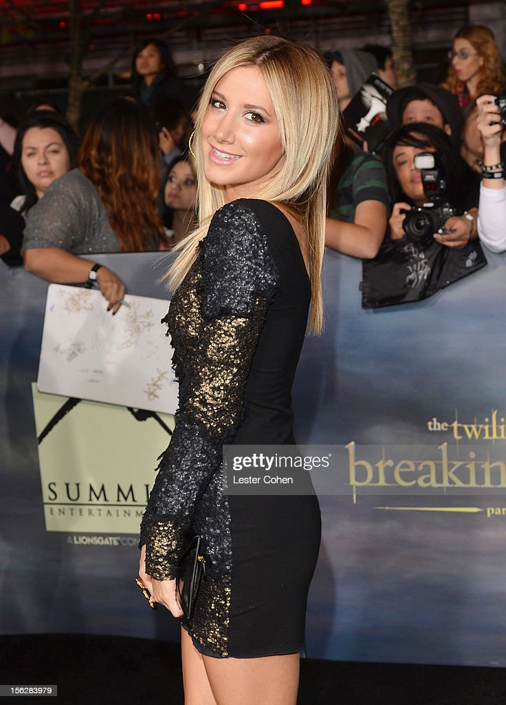 Actress Ashley Tisdale arrives at 'The Twilight Saga: Breaking Dawn - Part 2' Los Angeles premiere at the Nokia Theatre L.A. Live on November 12, 2012 in Los Angeles, California.