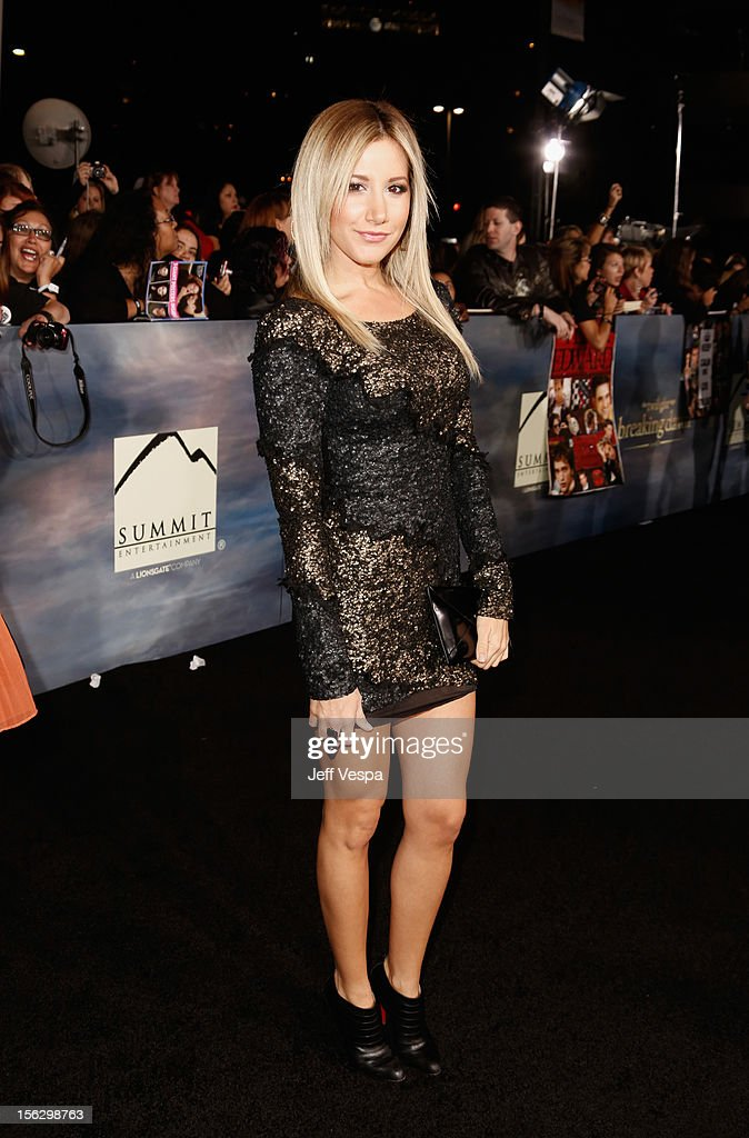 Actress Ashley Tisdale arrives at 'The Twilight Saga: Breaking Dawn - Part 2' Los Angeles premiere at Nokia Theatre L.A. Live on November 12, 2012 in Los Angeles, California.