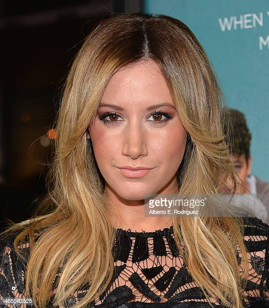 Actress Ashley Tisdale arrives to the premiere of Focus Features' 'That Awkward Moment' at Regal Cinemas LA Live on January 27 2014 in Los Angeles...
