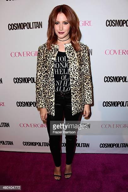 Actress Ashley Tisdale attends Cosmopolitan's 50th Birthday Celebration at Ysabel on October 12 2015 in West Hollywood California