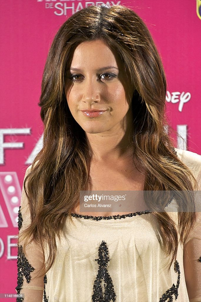 Actress Ashley Tisdale attends 'Sharpay's Fabulous Adventure' (La Fabulosa aventura de Sharpay) photocall on May 23, 2011 in Madrid, Spain.