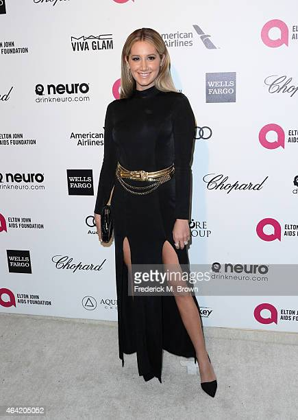 Actress Ashley Tisdale attends the 23rd Annual Elton John AIDS Foundation's Oscar Viewing Party on February 22 2015 in West Hollywood California